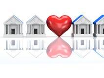 Fila delle costruzioni e del cuore di banca con la riflessione 3d rendono illustrazione vettoriale