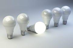 Fila delle lampadine del LED con una differente dagli altre Fotografia Stock Libera da Diritti