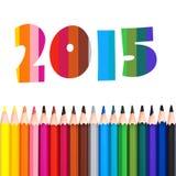 2015, fila delle matite variopinte Fotografia Stock Libera da Diritti