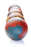 Fila delle palle di pallamano Fotografia Stock Libera da Diritti