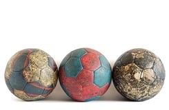 Fila delle palle di pallamano Immagine Stock