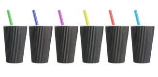 Fila delle tazze di caffè nero Fotografia Stock