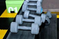Fila delle teste di legno del metallo sullo scaffale nella palestra, club di sport Immagine Stock