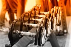 Fila delle teste di legno sullo scaffale, immagine tonificata del metallo Fotografie Stock