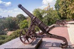 Fila di vecchi cannoni sulla parete di Cernihiv, Ucraina Fotografia Stock
