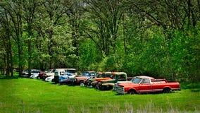Fila di vecchie automobili arrugginite abbandonate immagini stock libere da diritti