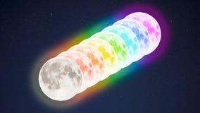 Fila diagonale delle lune piene multicolori sul fondo stellato del cielo Immagini Stock Libere da Diritti