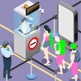 Fila dos povos do dever do aeroporto ilustração royalty free