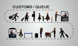 A fila dos povos no controle de passaporte Fotografia de Stock