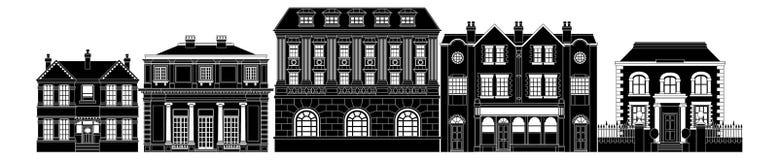 Fila elegante elegante de edificios stock de ilustración