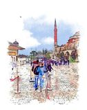 Fila a Hagia Sophia Museum, Istambul, Turquia Esbo?o da aquarela fotos de stock