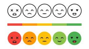 Fila, nivel de grado de satisfacción Emociones de la reacción, smiley, ejemplo del concepto del vector Experiencia del usuario libre illustration