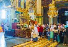 A fila no santuário de Pochaev Lavra Fotografia de Stock Royalty Free