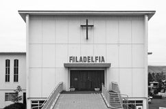 Filadelfia church with modern architecture at Reykjavik downtown Royalty Free Stock Image