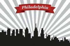 Filadelfia miasta linia horyzontu z promienia faborkiem i tłem ilustracji