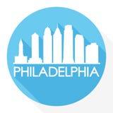 Filadelfia PA Stany Zjednoczone Ameryka usa ikony Round Wektorowej sztuki cienia projekta linii horyzontu miasta sylwetki szablon ilustracja wektor