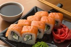 Filadelfia rolki suszi set, zamyka up Japoński jedzenie Fotografia Royalty Free