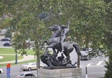 Filadelfia, Sierpień 4th: Statua przód muzeum sztuki od Filadelfia w Pennsylwania zdjęcie stock