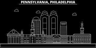 Filadelfia sylwetki linia horyzontu USA - Filadelfia wektorowy miasto, amerykańska liniowa architektura, budynki philadelphia royalty ilustracja