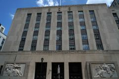 FILADELFIA, usa Filadelfia urzędu pocztowego basów stara ulga - MAJ 23 2018 - Zdjęcie Stock