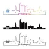 Filadelfia V2 linii horyzontu liniowy styl z rainbown ilustracja wektor
