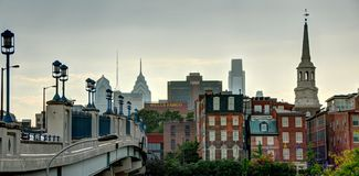 Filadelfia - vecchia città e città del centro Fotografia Stock Libera da Diritti