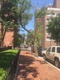 Filadelfia Waszyngton kwadrat Zachodni, Czerwonej cegły chodniczek, słoneczny dzień ulicy scena Fotografia Stock