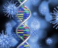 Filamento de la DNA y células médicas del virus 3D Imagen de archivo libre de regalías