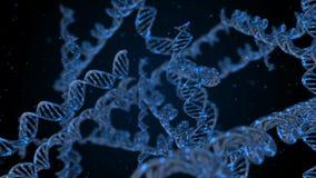 Filamentos de la DNA en fondo negro stock de ilustración