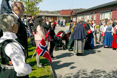 Filan Hitra, Norway - May 17, 2017: Celebration of Norway`s Cons. Titution Day. People in the Norwegian national costumes with embroidery, silver jewelry stock photos