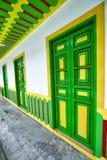 Colourful architecture in Filandia, Colombia stock photography