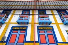Brightly coloured architectural detail in Salento Colombia stock photography