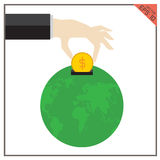 Filantropía global determinada del ejemplo de la tierra del vector del mundo del dinero Imagenes de archivo