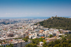 Filapopos Hill seen from the Acropolis. View of Athens and Filapopos hill from the Acropolis in Athens, Greece Stock Photography