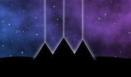 Filarów światła nad ostrosłupami Giza projektują tło ilustracji