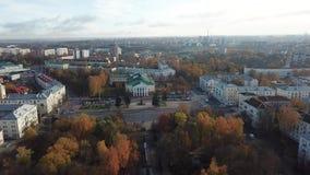 Filarmónico regional en el cuadrado de Lenin Ciudad Vitebsk almacen de metraje de vídeo