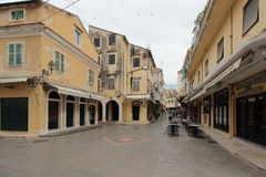 Filarmonikis street in Kerkyra, Corfu Royalty Free Stock Photography