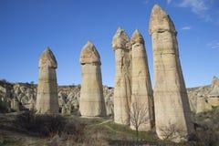 Filary dolina miłość Goreme park narodowy, Cappadocia zdjęcia royalty free