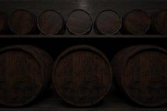 Filas de barriles en los estantes ilustración 3D Fotografía de archivo libre de regalías