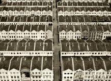 Filas de casas históricas en Malaka, Malasia imagen de archivo libre de regalías