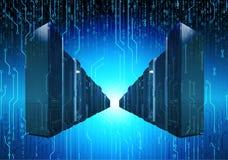 Filas de centro de datos en la tecnología futura de la placa de circuito binaria del fondo, backgroun cibernético azul del supero Imagen de archivo
