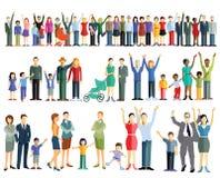 Filas de la gente y de familias ilustración del vector