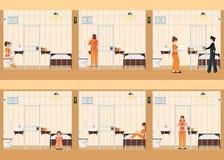 Filas de las celdas de prisión con la vida de mujeres en cárcel Foto de archivo libre de regalías
