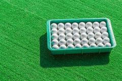 Filas de las pelotas de golf en bandeja en hierba verde Imágenes de archivo libres de regalías