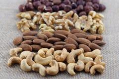 Filas de los anacardos, de las almendras, de las nueces y de las avellanas en una tela de la arpillera Foco selectivo en los anac foto de archivo libre de regalías