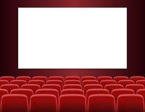 Filas de los asientos rojos del cine o del teatro con la pantalla en blanco libre illustration