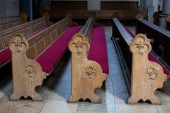 Filas de los bancos de iglesia Fotografía de archivo libre de regalías