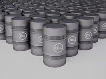 Filas de los barriles de petróleo Fotos de archivo