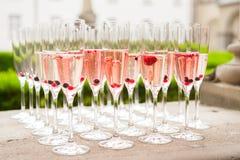 Filas de los glases del vino con el vino y las frutas imagen de archivo