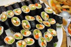 Filas del sushi vegetariano Fotos de archivo